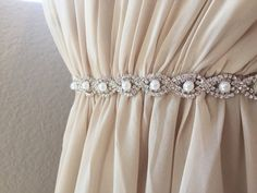 Thin Silver Crystal and Pearl Rhinestone by BridalBeltsandSashes