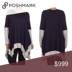 """(Plus) Navy blue tunic Semi lightweight, yet still warm enough for a cool day. Very stretchy! Runs TTS with an oversized look. Length is measured as shortest point/ longest point. Bust measurement is laying flat- easily stretches well beyond measurement. 96% rayon/ 4% spandex. SaRr2f8 1x: L: 30/37"""" B: 44"""" 2x: L: 31/38"""" B: 46"""" 3x: L: 32/39"""" B: 48"""" ⭐️This item is brand new from manufacturer without tags.  🚫NO TRADES 💲Price is firm unless bundled 💰Ask about bundle discounts Availability…"""