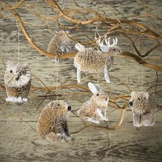 Glitter Woodland Animal Christmas Tree Decoration