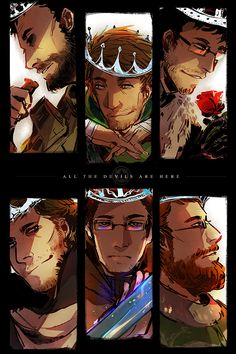 """The Achievement Hunters. From their Minecraft """"King"""" Lets Plays. This is one of the coolest drawings I've seen."""