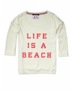 Surf inspired knit with fluo text - Pullovers - Official Scotch & Soda Online Fashion & Apparel Shops