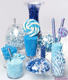 navy, bright blue and white candy buffet