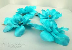 Turquoise hair pins  Wedding hair accessories  Set of 4