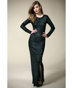 boohoo Boutique Sara Split Skirt Zip Trim Sequin Maxi Dress - black