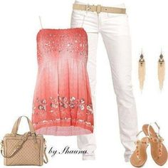 White pants with pink tank