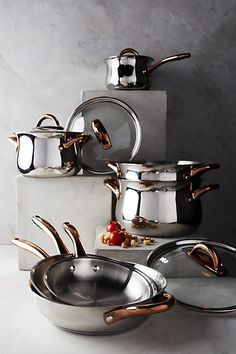 BergHOFF Copper-Handled Cookware Set Anthropologie Copper-Handled Cookware Set www. Kitchen Utensils, Kitchen Tools, Kitchen Gadgets, Kitchen Dining, Kitchen Appliances, Kitchen Pans, Kitchen Themes, Buy Kitchen, Copper Handles