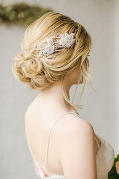 prettiest wedding updo hairstyle with hair accessory