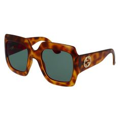Gucci Oversize Brown Havana Square Sunglasses (€150) ❤ liked on Polyvore  featuring jewelry 943db122391