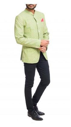 Gentlemen, stay trendy and fashionable in the latest bandhgalas in summer colors. Check out this lime green bandhgala with small motifs and mother of pearl buttons. Nehru Jacket For Men, Nehru Jackets, Mens Ethnic Wear, Wedding Store, Mother Of Pearl Buttons, Summer Colors, Summer Wedding, Gentleman, Shop Now