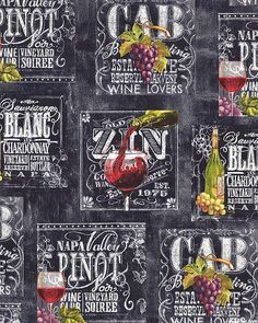 Wine List - Chalkboard Pour - Quilt Fabrics from www.eQuilter.com
