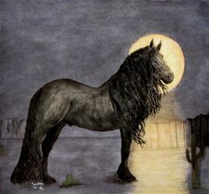 Desert Moonlight And Friesian Stallion Painting  - Desert Moonlight And Friesian Stallion Fine Art Print