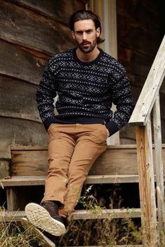 Men's Black Fair Isle Crew-neck Sweater, Brown Chinos, Dark Brown Leather Boots Dapper Gentleman, Gentleman Style, Dapper Man, Stylish Men, Men Casual, Brown Chinos, Style Masculin, Moda Blog, Le Male