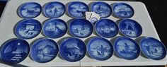 ROYAL COPENHAGEN ANNUAL COLLECTOR PLATE LOT OF 16! 1964-1979-BLUE & WHITE