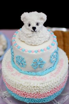 This fabulous ruffled pink, blue and white snowflakes and polar bear Winter ONEderland birthday cake made by mommy & grandma is just so adorable! See more party ideas and share yours at CatchMyParty.com
