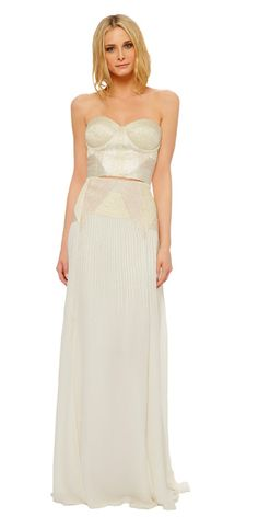 MARA HOFFMAN Corded bridal bustier with zipper at side, slightly padded cups with underwire and boning at princess seams. Features intricate cording in tonal shades of taupe and beige. Silk corded bridal skirt with zipper at side. Falls at natural waist and has two fronts slits to above the knee. Features intricate cording in tonal shades of taupe and beige.