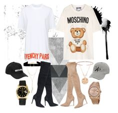 """""""Untitled #14"""" by johanna-hahn on Polyvore featuring Givenchy, Moschino, Vetements, Rolex, Gucci, Anne Sisteron, Bloomingdale's, Anissa Kermiche and Kendall + Kylie"""