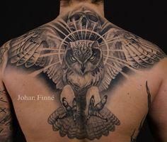 27 Owl tattoo on back