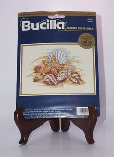 """Bucilla NEW Seashells Conch Shore Beach 7"""" x 5"""" Picture Counted Cross Stitch Kit #Bucilla #Picture"""