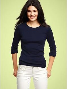 Gap Essential LS Crewneck T -It may be hard to tell, but this is navy blue.