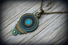 Bohemian polymer clay pendant Statement necklace fairy earthy mandala gypsy psychedelic wearable art green jewel