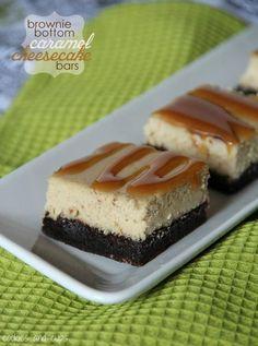 Brownie Bottom Caramel Cheesecake Bars. A delicious brownie crust with caramel cheesecake in a bar!