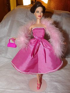 Stunning pink Taffeta party dress with pearl by KelleysKreationsLV