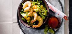 gefrituurde garnalen met groentesalade