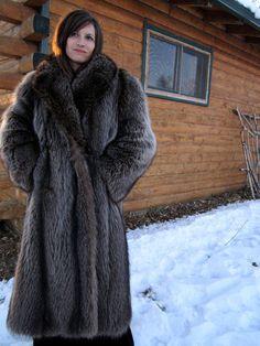 Very Thick Raccoon Fur Coat. I like the grays