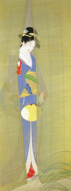 Uemura Shōen Evening, hanging scroll, Yamatane Museum of Art, Japan Japan Illustration, Japanese Prints, Japanese Design, Japanese Kimono, Japanese Style, Motifs Textiles, Art Japonais, Japanese Painting, Art Graphique