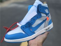 "finest selection 49a06 3a5c8 These Jordan 1 Retro High Off-White University Blue also known as the ""UNC""  editions, designed by Virgil Abloh and made in collaboration with his Off- White ..."