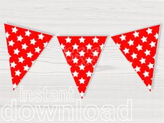red birthday party printable banner stars pattern printable pennant  decorative bunting banner red baby shower PDF file instant download