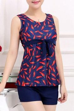 #RoseGal.com - #RoseGal Scoop Neck Red Pepper Printed Two Piece Swimsuit For Women - AdoreWe.com