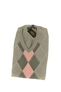 Carnoustie Carvs134 Argyle V Neck Mens Vests Gray Pink Size L