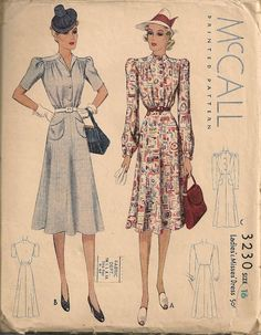 Vintage 1930's Dress Pattern McCall 3230 by SewPatterns on Etsy, $25.00