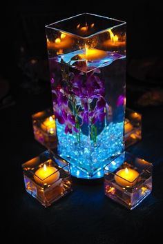 Creative DIY Wedding Centerpieces on a Budget – Floating Candles Wedding Table, Diy Wedding, Wedding Reception, Wedding Flowers, Dream Wedding, Wedding Ideas, Blue Orchid Wedding, Trendy Wedding, Purple Turquoise Weddings