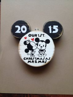 Our First Christmas Ornament | Disney Wedding | Just Married | Mr. and Mrs. | Mickey Mouse | Disney Christmas Ornament | Disney Wood