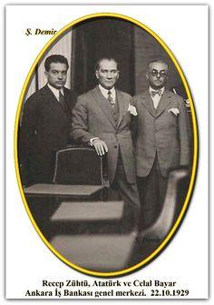 Recep Zühtü, Atatürk ve Celal Bayar Ankara İş Bankası genel merkezi.  22.10.1929