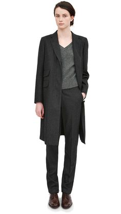 MARGARET HOWELL - LOOK 7-needs some brighter shoes, but I love the menswear inspired suit and the oxfords.