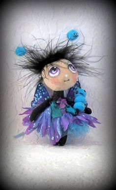 Little purple turquoise butterfly cloth doll and by suziehayward, $62.00