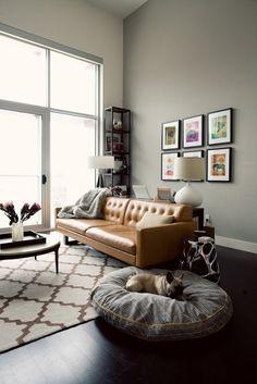 soft grey wall + dark grey cushion + brown sofa