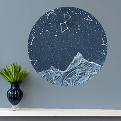 Astronomy Lyra Constellation Wall Decal - Astronomy Art by Elise Mahan - Product: astronomy inspired star wall sticker Sizes: x x x Shape: circle Material: non-toxic polyester fabric sticker Other: peel Constellations, Constellation Art, Wall Stickers, Wall Decals, Mural Wall, Wall Art, Art Nouveau, Art Deco, Space And Astronomy