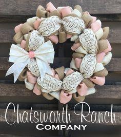 Crochet Lace Burlap Wreath Vintage Shabby by ChatsworthRanchCo