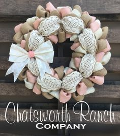 Crochet Lace Burlap Wreath Vintage Shabby by ChatsworthRanchCo
