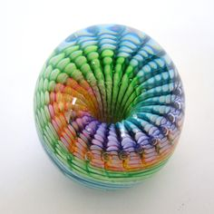 """Rainbow Art-Glass Paperweight - A Rainbow of Color Swirls within the Clear Dome of this sublime Hand-Sculpted Glass Paperweight Each is Unique 