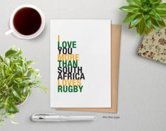 Rugby Gift, Unique Greeting Card, Sports Gift for Him, I Love You More Than South Africa Loves Rugby, A2 Size, Free U.S. Shipping by hopskipjumppaper. Explore more products on http://hopskipjumppaper.etsy.com