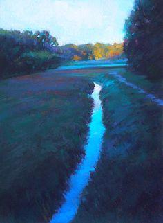 Ed Chesnovitch, landscape pastel painting, Cape Cod, East Sandwich, Provincetown, sunset, salt marsh, ocean, sunrise, cranberry bog, autumn, inlet