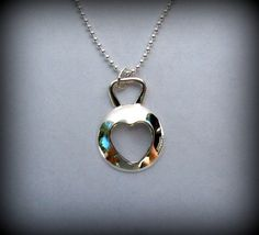 Heart kettlebell necklace silver crossfit by DesignsByDomino, $56.00