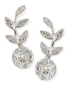 18k White Gold & Diamond Floral Climber Earrings by Rina Limor at Neiman Marcus.