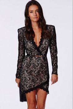 Σταυρωτό μίνι φόρεμα με δαντέλα - Μαύρο