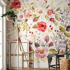 Bungalow Rose Mandalay Removable Vintage Berries Flowers L x W Peel and Stick Wallpaper Roll Said Wallpaper, Wallpaper Panels, Adhesive Wallpaper, Flower Wallpaper, Wallpaper Roll, Peel And Stick Wallpaper, Pattern Wallpaper, Wallpaper Murals, Wallpaper Staircase